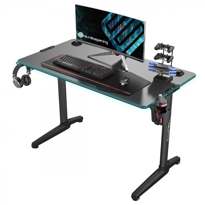 Стол для компьютера (для геймеров) EUREKA со стеклянной столешницей и RGB-подстветкой GIP 44