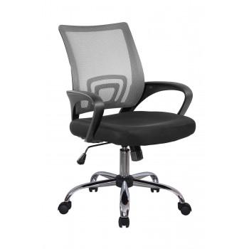 Кресло офисное Riva Chair 8085JE, cерая сетка/xром крестовина