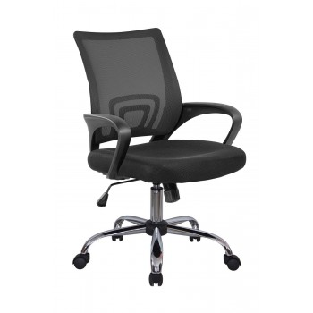 Кресло офисное Riva Chair 8085JE, черная сетка/хром крестовина