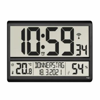 Цифровые настенные часы TFA 60.4520.01, отображение температуры и влажности в помещении