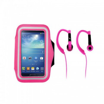 Набор для бега  T'nB SPPACKPK: спортивный чехол на руку для смартфона и наушники, цвет розовый