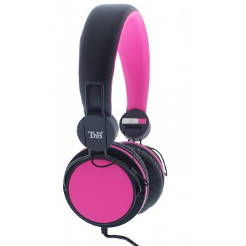 Проводная гарнитура T'nB серии BE-COLOR, черно-розовая